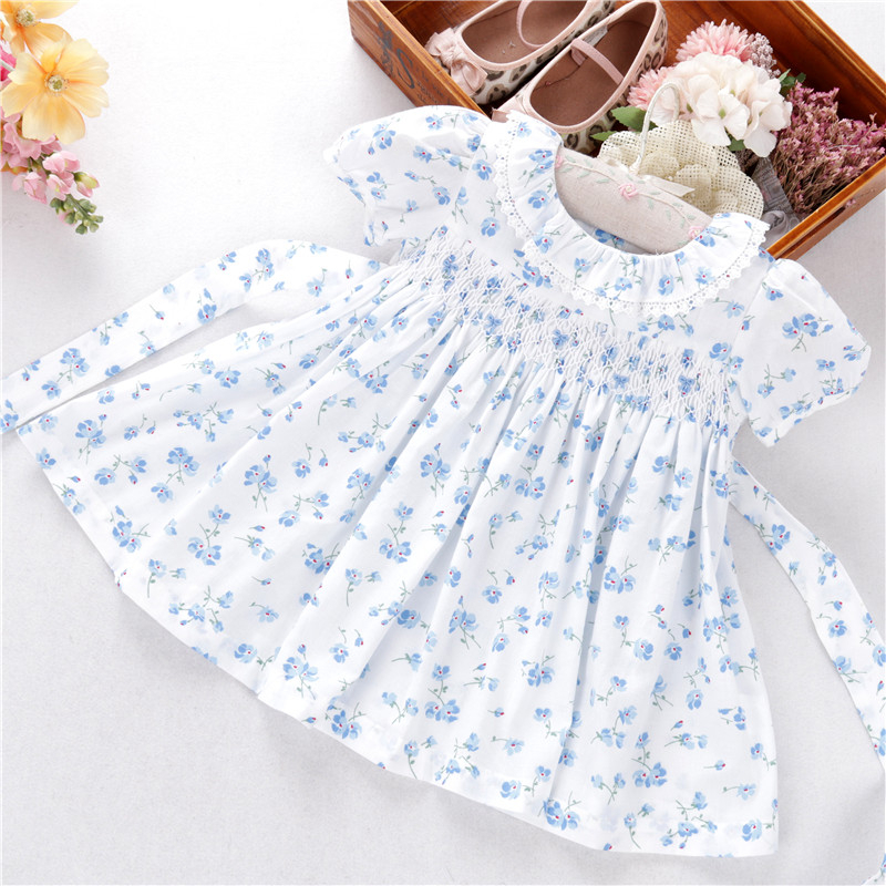 Summer Infant Baby Girls Dresses Flower Smocked Hand Made Cotton Peter Pan Collar Kids Dress Children Clothing
