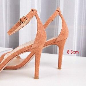 Image 5 - 2020 קיץ נשים של סנדלי נעלי אישה 8.5cm דק עקבים גבוהים פלוק מוצק קרסול רצועות צר אלגנטי קלאסי משרד ליידי משאבות
