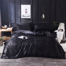 Black silk duvet cover 220x240 Pillowcase 3pcs 200x200 quilt cover bed cover 150x200 queen king size