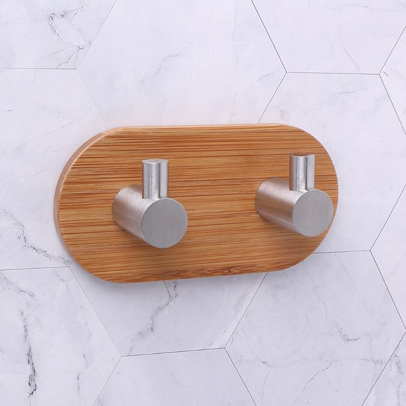 Natural Bamboo Stainless Steel Wall Hook Bag Key Towel Adhesive Hanger For Kitchen Bathroom