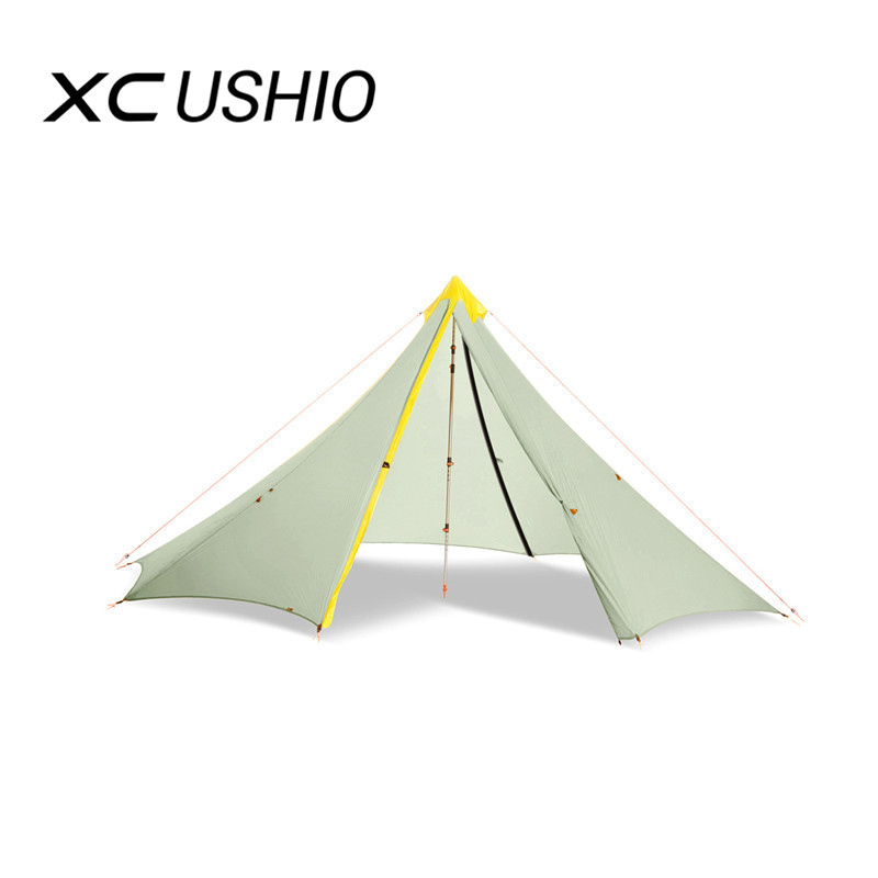 Original 4-5person Big Pyramid Tent Height 1.7m Ultralight Rodless Backpacking Tent With Two Door Awnings Shelter Tent 20d Silicone Nylon