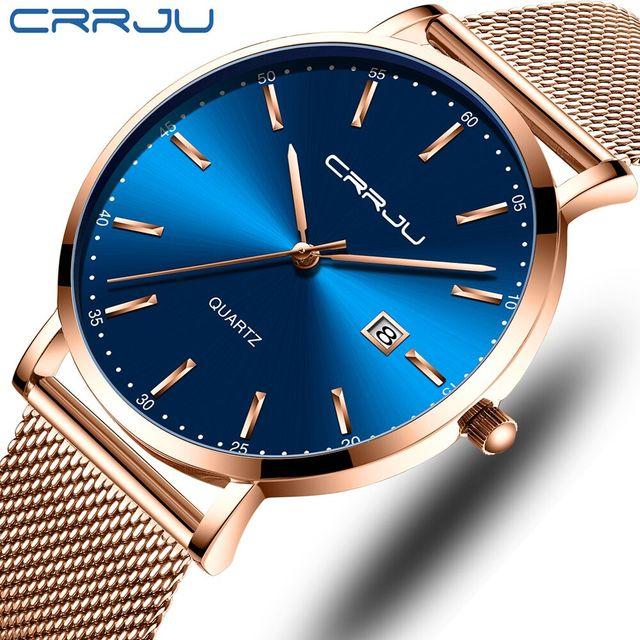 Classic Business Rose Mesh Belt Stylish Quartz Watch Men Waterproof Date Relogio Masculino