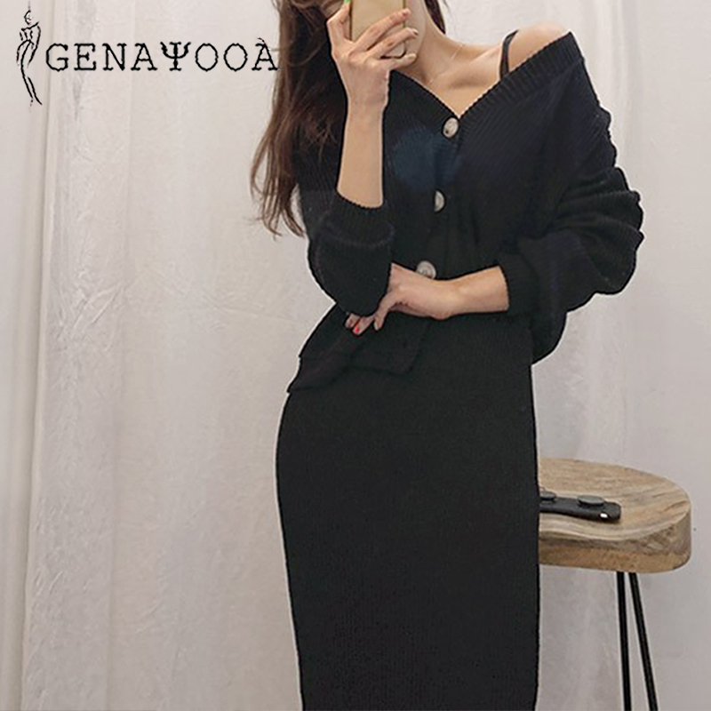 Genayooa Knitted Womens Two Piece Set 2019 Women 2 Piece Set Sweater Suit Vintage Long Sleeve Cardigan Female Midi Skirt Set in Women 39 s Sets from Women 39 s Clothing