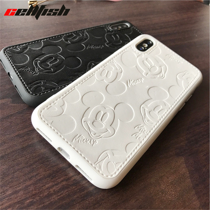 Mickey Soft Silicone <font><b>Phone</b></font> <font><b>Case</b></font> for <font><b>iPhone</b></font> XS MAX <font><b>XR</b></font> 10 6s 7 8 7Plus 8Plus Coque Cartoon Mouse Leather Cover for iPhoneX Capinha image
