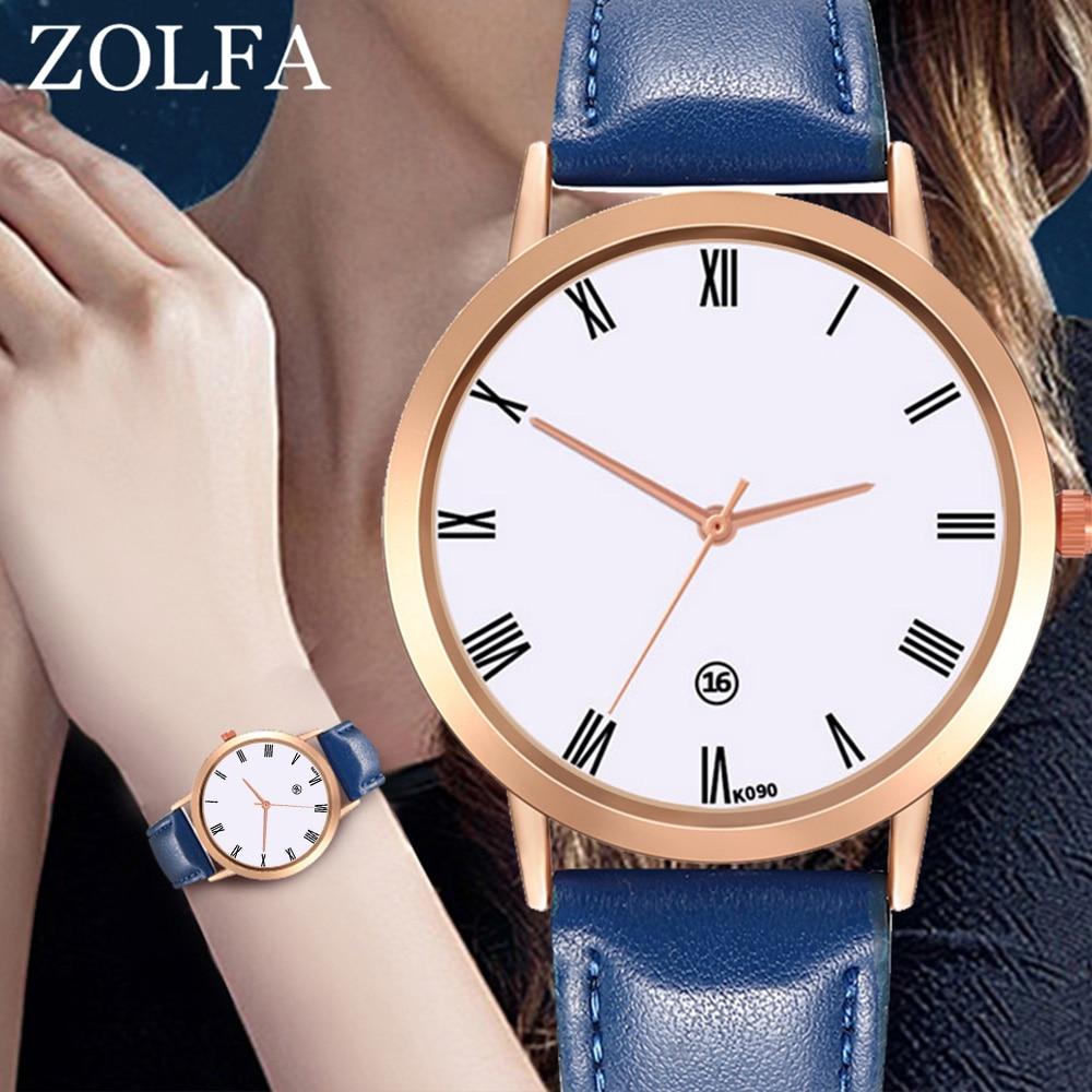 Girls Quartz Watch Elegant Round Dial Minimalist PU Leather Belt Band Watch LL@17