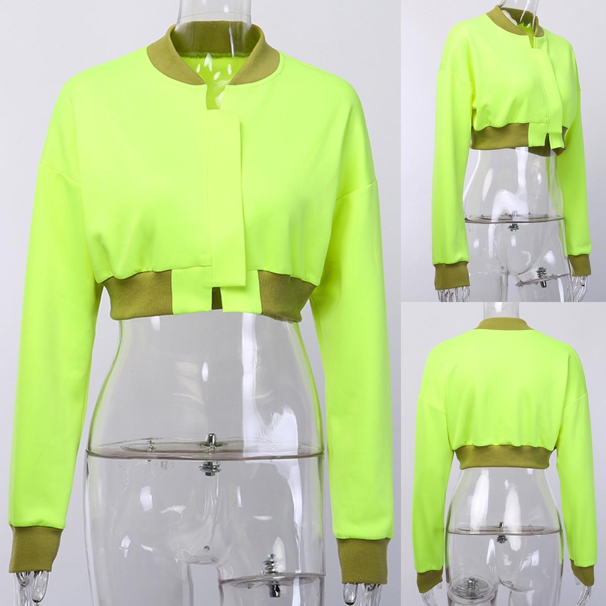 Hf584d0bb0dbf4474bdefe6ddbbdb94b0z Neon Green Cropped Jacket Women Streetwear Outwear Windbreaker Bomber Baseball Coats and Jackets Autumn 2019
