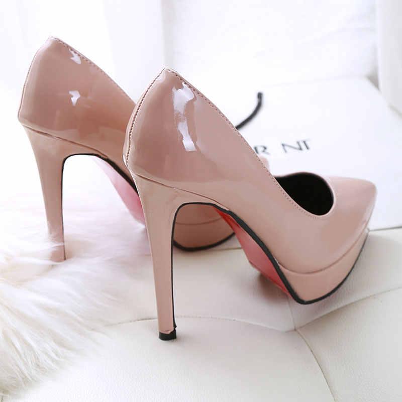 Super haute avec 12cm en cuir verni chaussures à talons hauts femme pompes chaussures de fête de mariage plate-forme mode femmes chaussures talons hauts