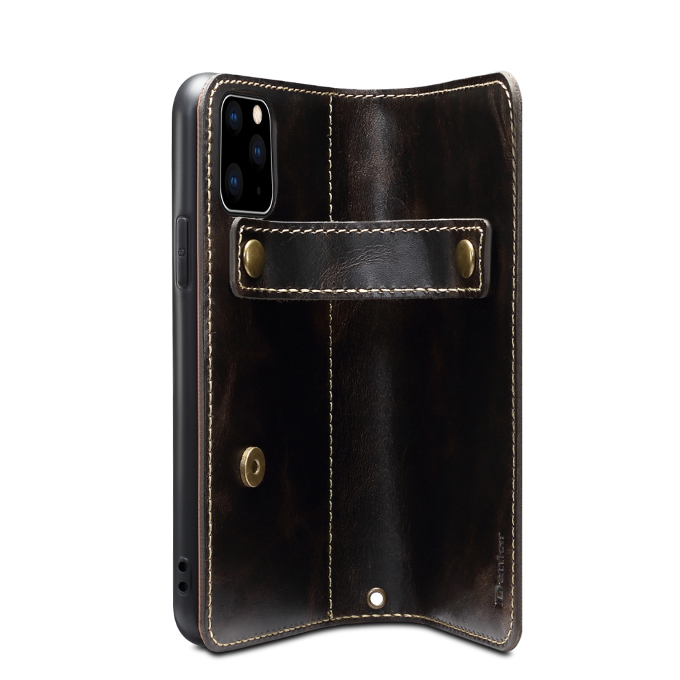Premium Leather Magnet Button Flip Strap Case for iPhone 11/11 Pro/11 Pro Max 59