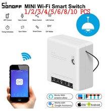 SONOFF мини Wifi умный переключатель модуль 110-240 в контрольный Лер светильник с таймером переключатель голосового управления работа с Amazon Alexa Google Home