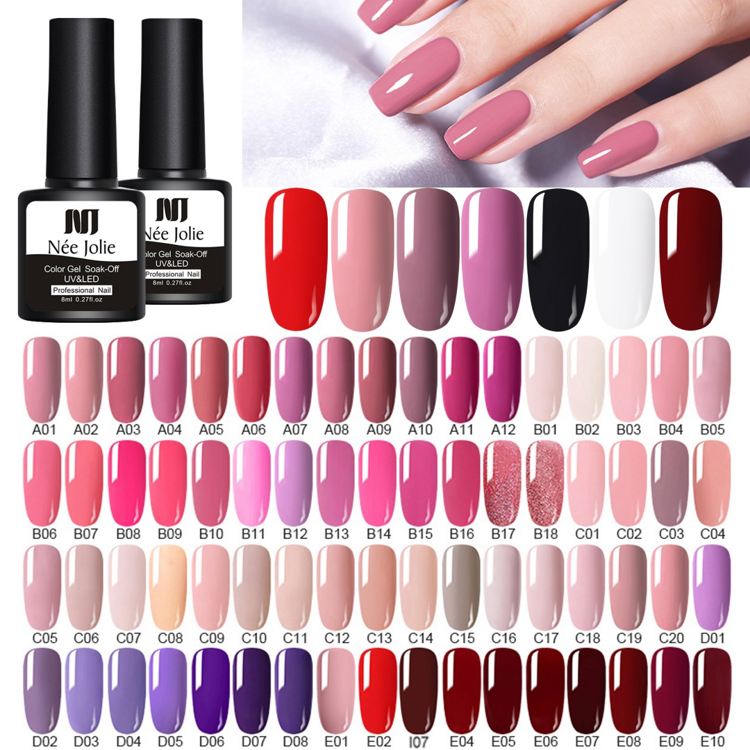 NEE JOLIE 8ml UV Gel Nail Polish LED Nail Art Varnish Red Gray Gel Nail Long Lasting Gel Soak Off Nail Art DIY Designs
