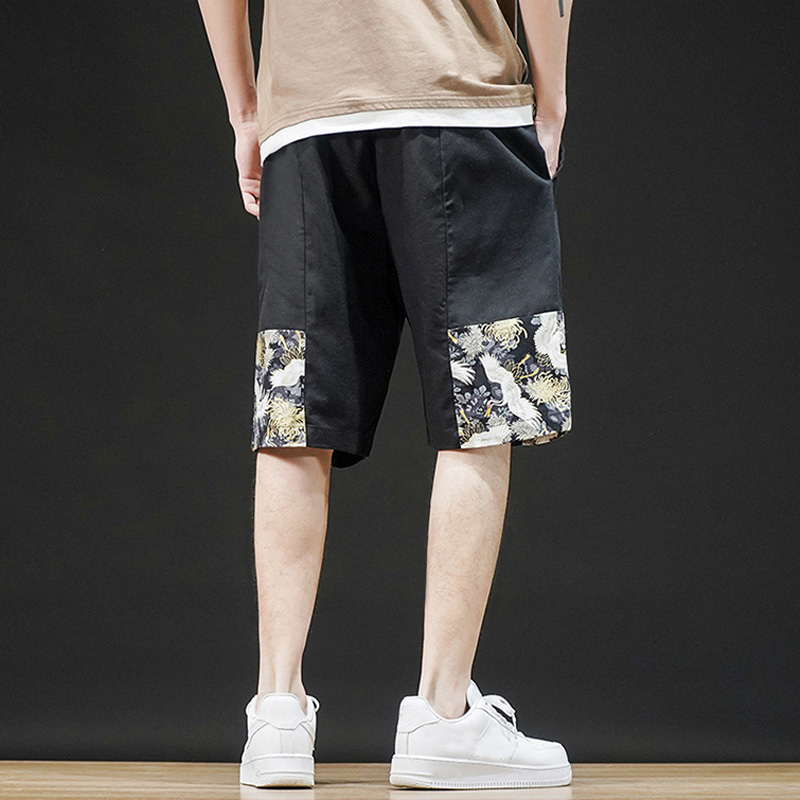 Summer Wind Printing Casual Pants Men Japanese Linen Loose-Fit Drawstring Shorts Cotton Loose Work Casual Short Pants