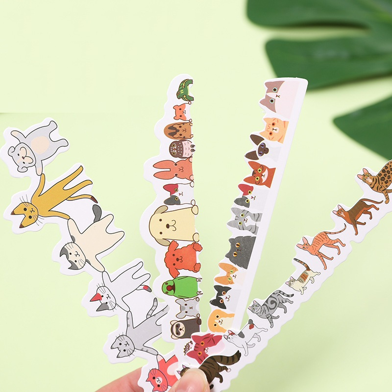 30pcs Cartoon Animal Bookmark Animal In Row Paper Bookmarks Post Card Kawaii Stationery Office School Supplies FC127