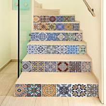 цена на new 6Pc Creative DIY Self-adhesive Stair Waterproof Anti-dirty Wall Sticker Seaside Scenery Mural Decal Home Stair Sticker Decor