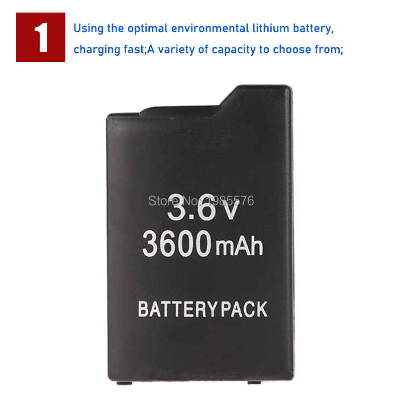 1PCS PSP1000 Battery Pack For Sony PSP-110 PSP 1000 Console Gamepad Real capacity 3600mAh 3.6V Rechargeable batteries 2