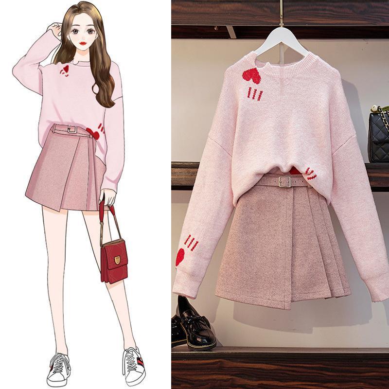 ICHOIX Korean Girl Pink Set Women 2 Piece Set Heart Print Cute Fall Winter Outfits Student Set Clothes Casual 2 Piece Skirt Set