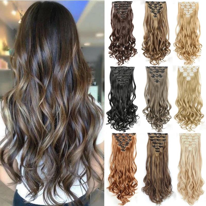 Синтетические накладные волосы на 16 зажимах, 56 см, 24 дюйма
