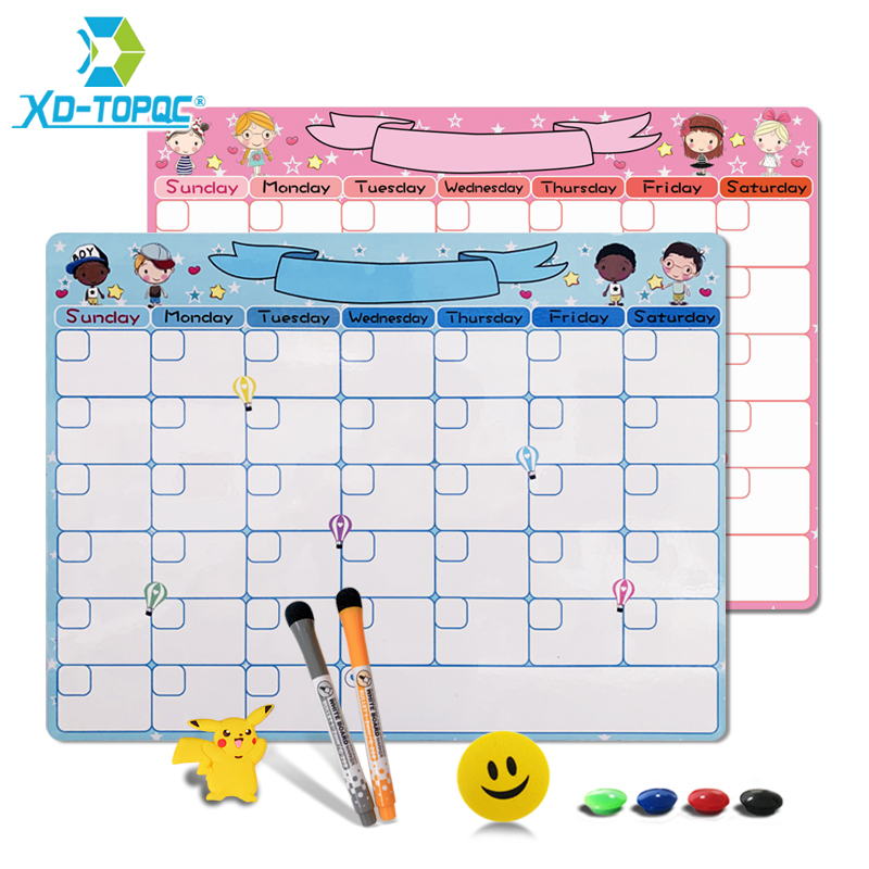 Kids Monthly Planner Whiteboard 30*40cm Study Schedule Dry Erase Calendar Fridge Magnet Flexible Cute A3 Message White Board