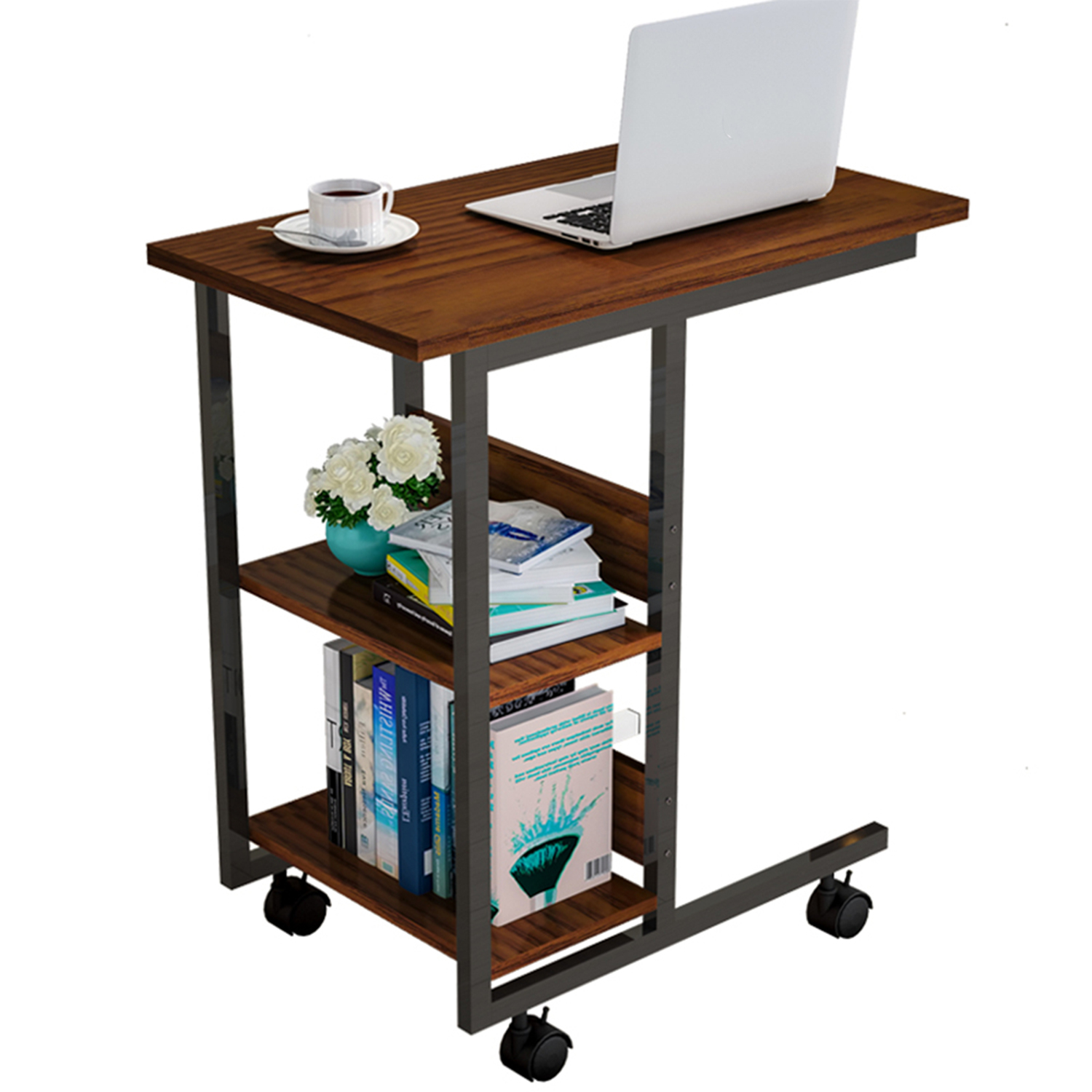 simple side table for sofa bed couch c shaped table desk rolling casters with brakes moveable coffee side table 3 tier storage