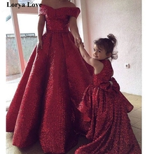 Evening-Dresses Prom-Gowns Wedding-Sequin Wine Party Formal Off-Shoulder Women Daughter