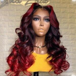 Pelucas de pelo humano de Color rojo de la onda del cuerpo del pelo humano de la onda del cuerpo brasileño Remy decolorado Konts pelucas sin pegamento con el pelo del bebé