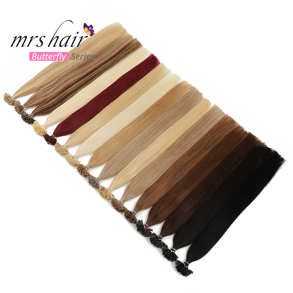 MRSHAIR 1g/pc Nail Tips Hair Extension Human Keratin Hair Remy U Tip Straight Fusion Hair Pre Bonded Capsule 50pcs 16