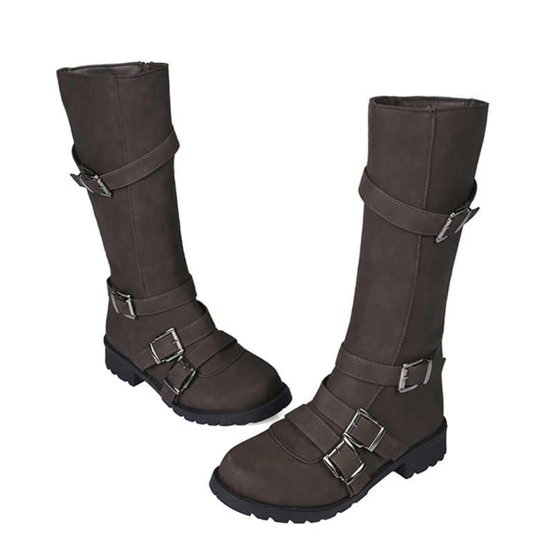 Phụ Nữ Đầu Gối Giày Cao Cổ Võ Sĩ Giác Đấu Giày Gót Thấp Thu Khóa Mùa Đông Plus Kích Thước Giày Boot Vintage Giày Martin MujerH229