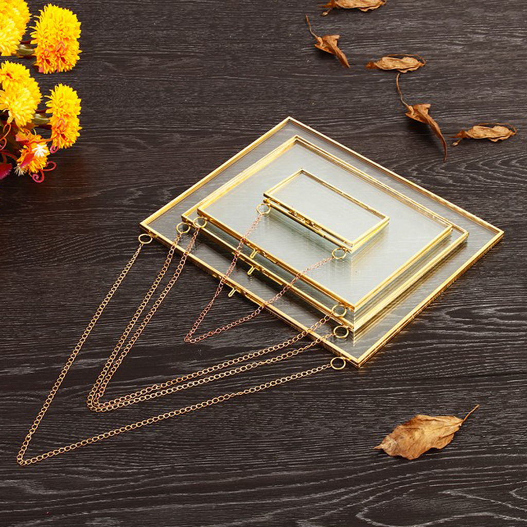 Antique Hanging Glass Photo Frame Portrait Plant Specimen Holder 16x14cm #A
