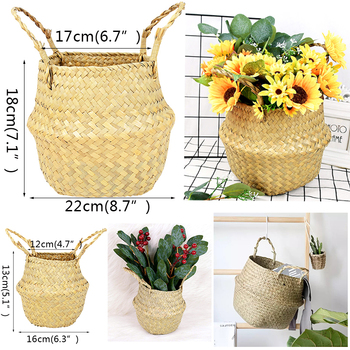 Foldable Storage Basket Hanging Flower Handmade Seagrass Wicker Dirty Laundry For Home Decor Rattan