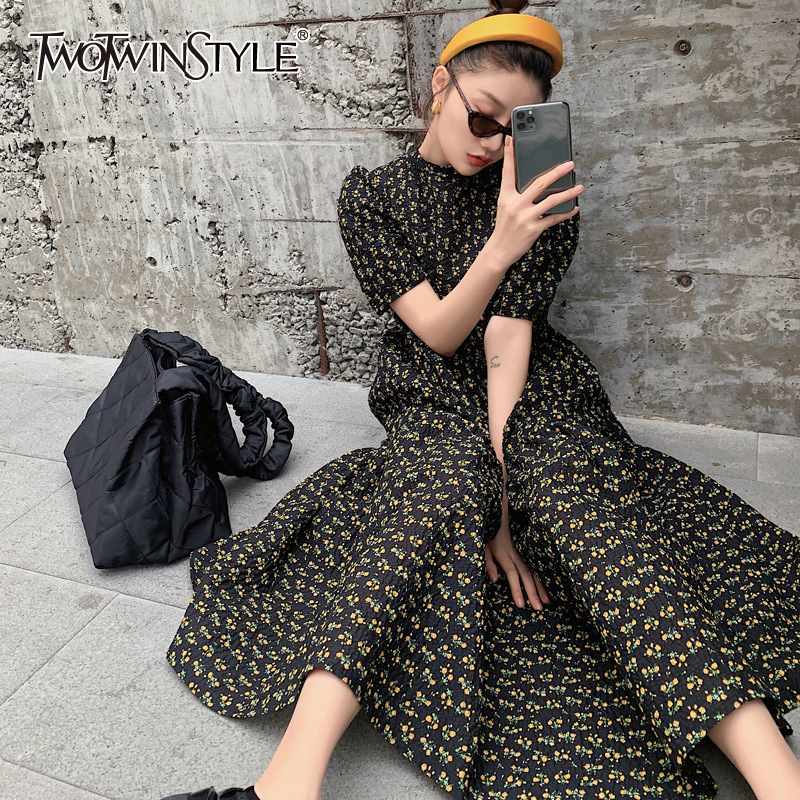TWOTWINSTYLE Elegant Print Floral Dress For Women O Neck Puff Short Sleeve Loose Vintage Dresses Female 2020 Summer Fashion New
