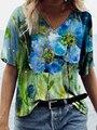 2021 Модная рубашка с цветочным узором для женщин с абстрактным принтом Футболка с коротким рукавом топы женские v-образный мысок; Повседневн...
