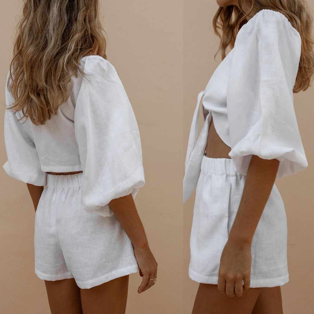 Tweedelige Set Vrouwen Kleding Outfits Midden Mouwen Knit Crop Top Shorts Sexy Whiet Bijpassende Sets Vakantie Casual Outfit