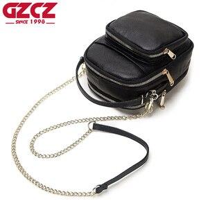 Image 1 - GZCZ 100% véritable cuir de vache sac de messager femmes sac à bandoulière mode bandoulière poitrine sac à main noir pour fourre tout pochette dame