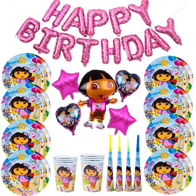 Принадлежности для дня рождения Дора Explorer, украшения для вечеринок Дора, набор одноразовой посуды для детей, украшение для дня рождения реб...