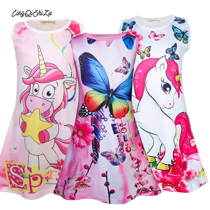 Toddler Girl Dresses For Kids Sleeveless Birthday Party Kids Girls Dress For Girls Summer Butterfly Unicorn Dress Girl Summer