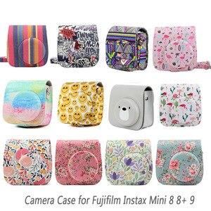 Image 1 - Besegad بو الجلود تحمل حقيبة كاميرا الحقيبة شل ث/حزام ل Fujifilm Instax Mini 8 8 + 9 كاميرات فورية الملحقات