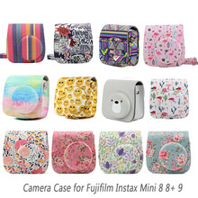 Besegad Pu Lederen Draagtas Camera Tas Shell Pouch Case W/Strap Voor Fujifilm Instax Mini 8 8 + 9 instant Camera S Accessoires