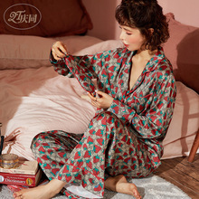 Trousers Pajamas Sleepwear Sexy Home-Clothes Printing Women's Mujer Thin Turn-Down-Collar
