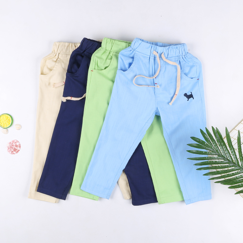 New Children Summer Solid Color Thin <font><b>Cotton</b></font> And <font><b>Linen</b></font> Embroidered Trousers.100-150cm Boys And Girls Fashion Pants Clothes image