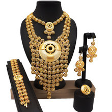 Afrikaanse GROTE sieraden sets bruiloft bruids partij sieraden set 24k gouden fijne sieraden sets afrikaanse vrouwen mode ketting armband(China)