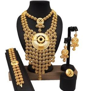 african BIG jewelry sets wedding bridal party jewelry set 24k gold fine jewelry sets african women fashion necklace bracelet