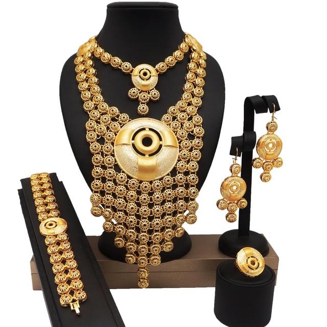 $  african BIG jewelry sets wedding bridal party jewelry set 24k gold fine jewelry sets african women fashion necklace bracelet