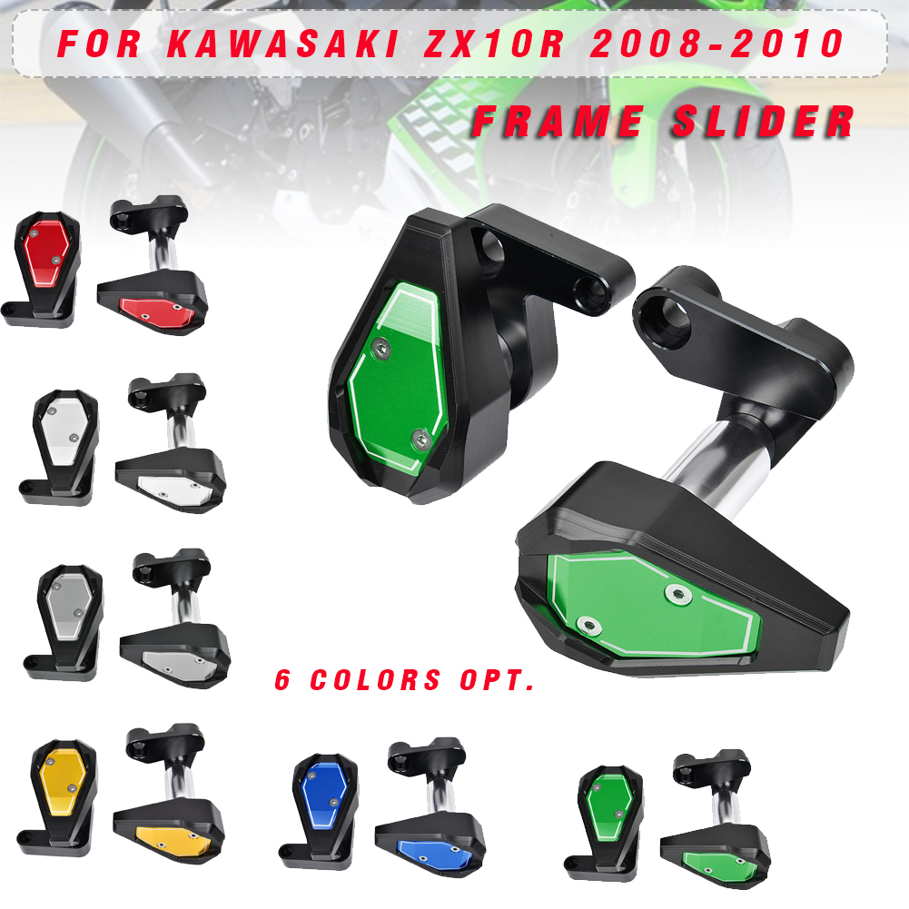 Motorcycle ZX-10R Frame Sliders Crash Pads Cover Falling Protection for Kawasaki 08 09 10 <font><b>ZX10R</b></font> ZX 10R ZX 10R <font><b>2008</b></font> 2009 2010 image