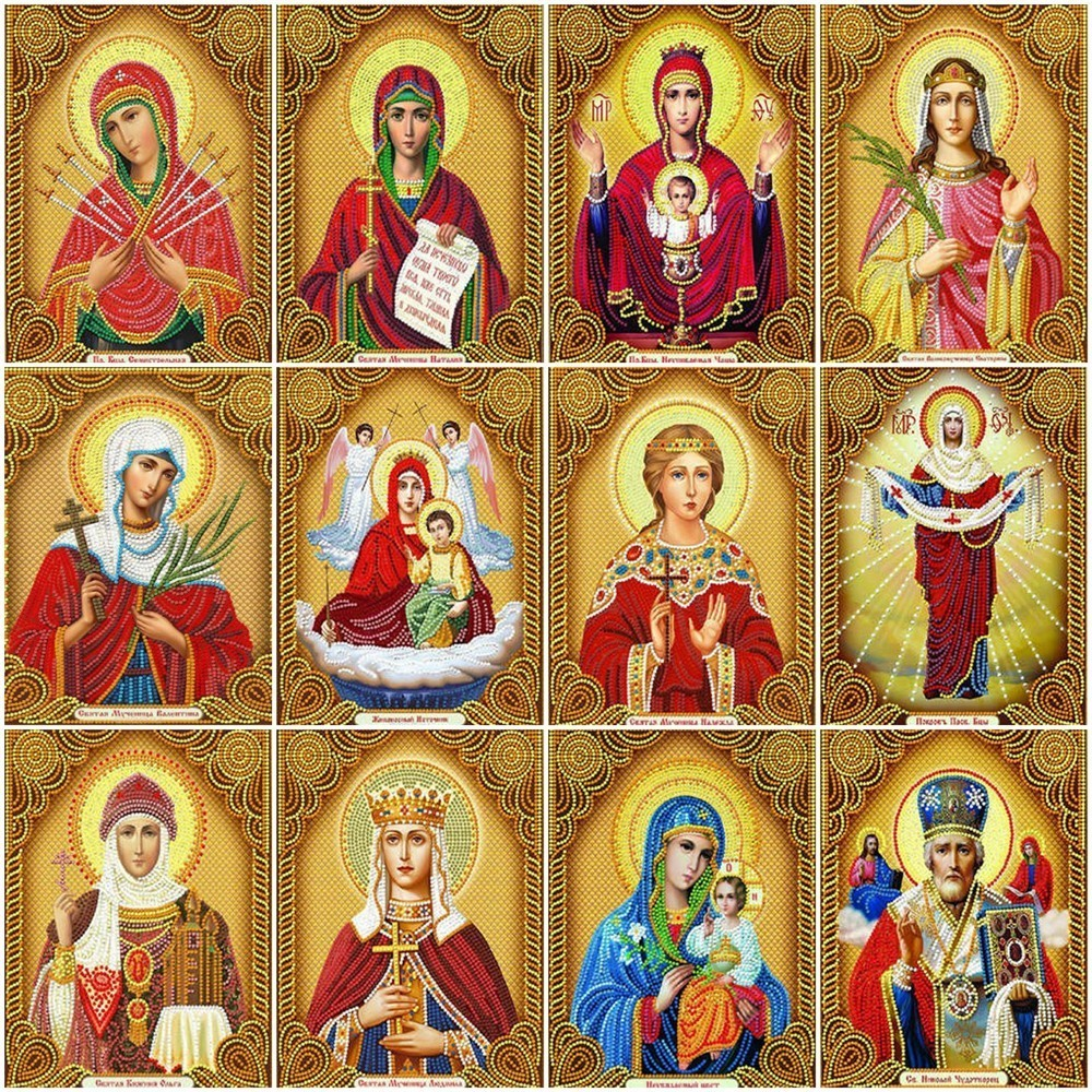 5d Diy Diamond Painting By Number Religion Icon Full Display Rhinestones Diamond Embroidery Cross Stitch Mosaic Home Decoration(China)