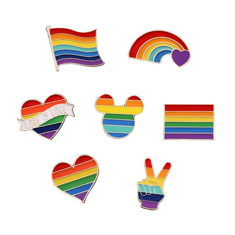 Эмалированные булавки в форме радужного сердца для геев, лесбиянок, ЛГБТ значок Love Is Love броши ювелирные изделия подарок для мужчин и женщин ...