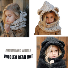 Cartoon animal bear hat Europe and America autumn winter childrens warm wool earmuffs cape