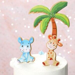 Image 2 - 1 סט חיות ספארי יום הולדת עוגת טופר יער האריה קוף Theme ילדים מסיבת יום הולדת עוגת קישוט ילדי ספקי צד