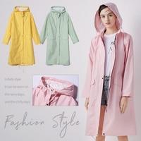 Frauen Neue Stilvolle Lange Regenmantel Wasserdichte Regen Jacke mit Kapuze