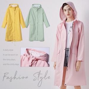 Women New Stylish Long Raincoat Waterproof Rain Jacket with Hood