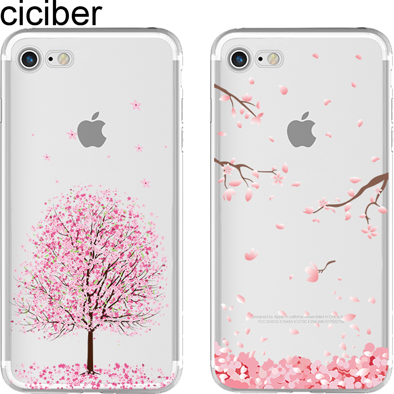 ciciber Romantic Sweet Cherry Blossom Cat Soft TPU Հեռախոսազանգերի ծածկոց IPhone 11 Pro Max 6 6S 7 8 Plus 5S SE X XR XS Max Funda