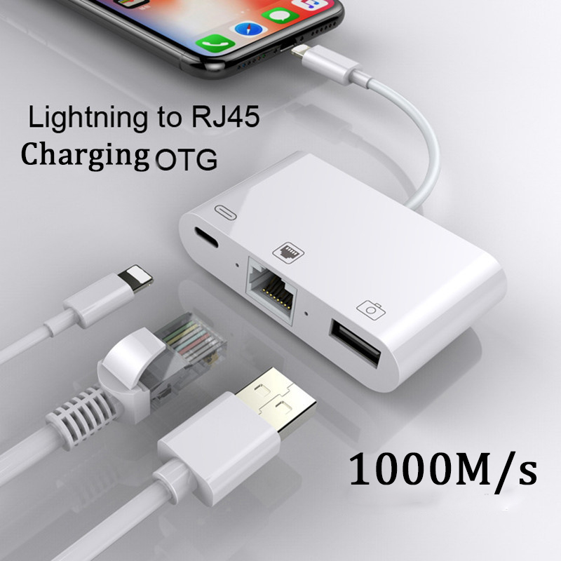 Adapter For Lightning To RJ45 Ethernet LAN Wired Network For IPhone/iPad All Series With Charging And USB 3 Camera Reader Port